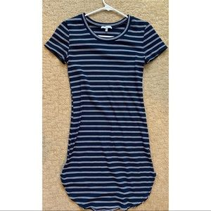 Navy blue and white striped mini dress